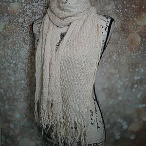 """Kimchi Blue Beige fine knitted scarf 76"""" long"""